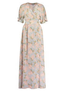 Wrap Dress Handmade Liberty of London Print Dress, maxi silk, Net-a-porter reve en vert, matches, Mamiee