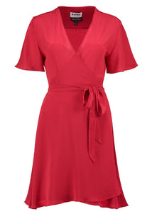 Lolita Scarlett 100% Silk Mini Wrap Red Dress with short sleeves, by Maimie avalible at Natural x Lab