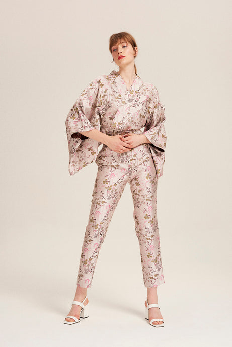 100% Silk Pink Porn Kimono Trousers by Alexandra Long at Natural x Lab