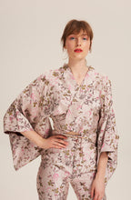 Load image into Gallery viewer, Women wearing Fortuna Kimono Jacket 100% Silk and Embroidery by Alexandra Long avalible at Natural x Lab, sustainble Luxury, Limited Edition