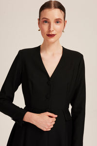 Women wearing Winifred Black Coat Dress by Alexandra Long avalible at Natural x Lab