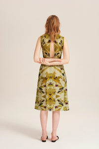 Women wears Vera Map of the World Dress by Alexandra Long avalible at Natural x Lab