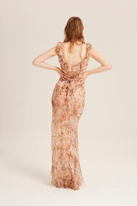 Women in Venus Dress, chiffon silk see-through maxi dress by Alexandra Long avalible at Natural x Lab Limited Edition