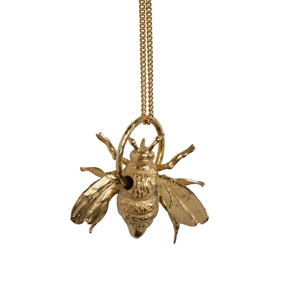 Recyled Gold Silver or Rose Gold Stag Bee Necklace by Gung Ho and Chalke London