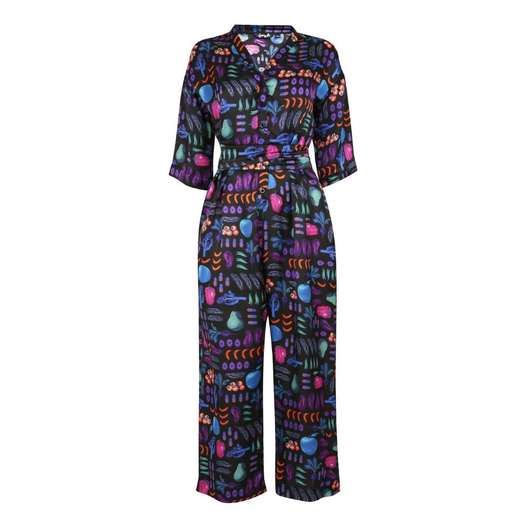 Multi Print Silk Jumpsuit Eco Friendly, Sustainable fashion by Gung Ho at Natural x Lab