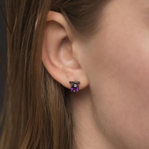 Amethyste Earrings by GFG Jewellery by Nilufer at Natural x Lab Sustainable Luxury, 8K Blackened Gold, Black Diamonds, Amethyst.