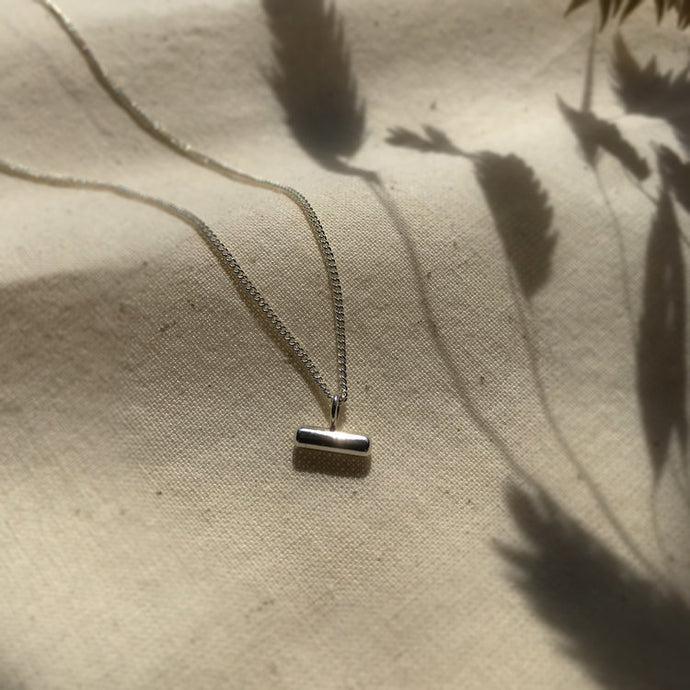 Recycled Silver Bar Pantant necklace