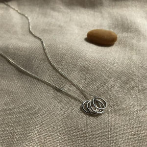Recycled Silver Round Set Pantant necklace