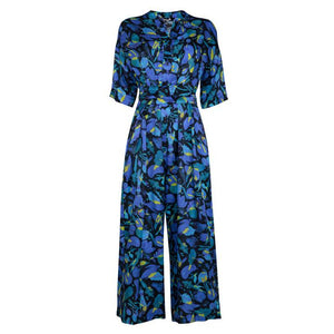 Gung Ho Seasonal blue silk Jumpsuit, 100% Natural Sustainable Fabric, by Gung Ho London, available at Natural x Lab Sustainable Luxury.
