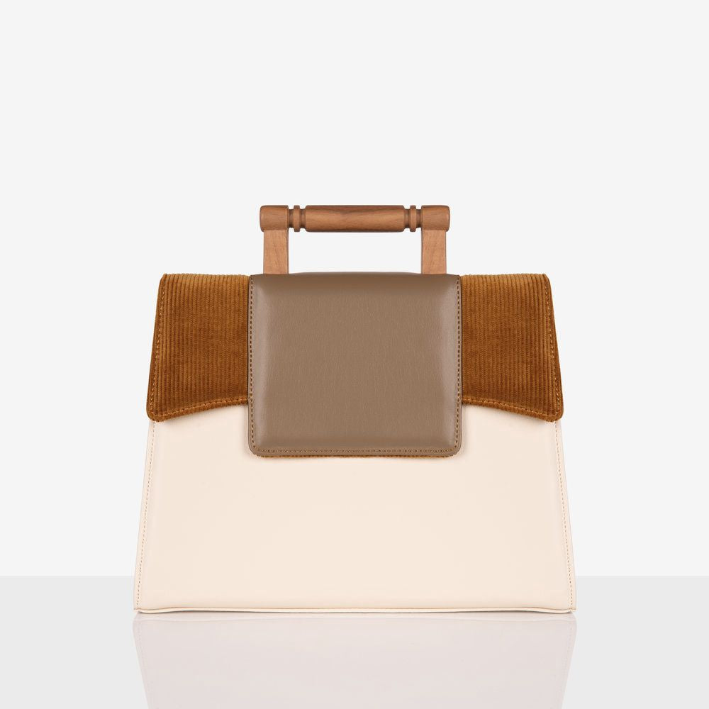 70's Blush and Brown Vegan Leather Bag with wooden handle by Mashu avalible at Natural x Lab
