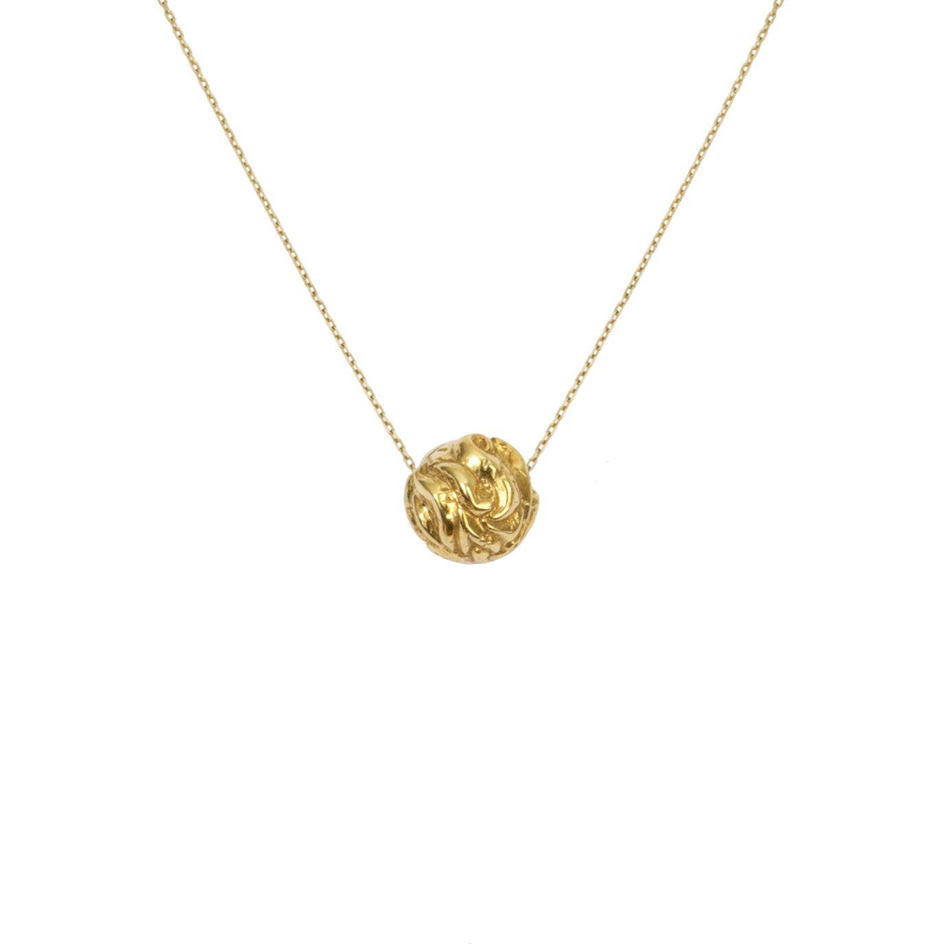 Recyled Gold Necklace with gold ball. The Prophecies of Pythia Pendant, Greek Mythology by Haute & Heir at Natural x Lab