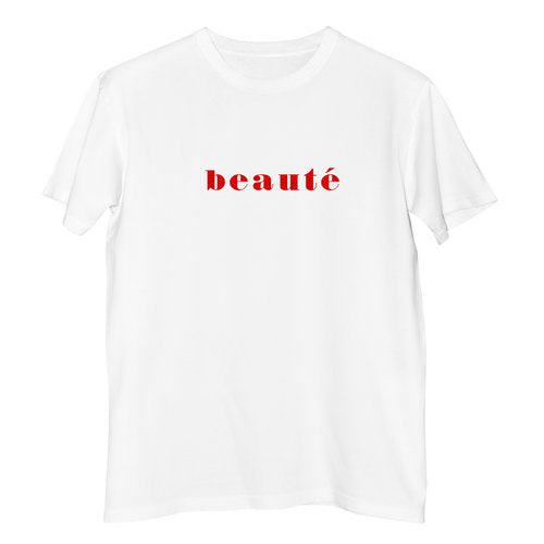 100% Fair Trade Organic Cotton Beaute T-shirt by French Kiss Studios avalible at Natural x Lab, Sustainable Luxury