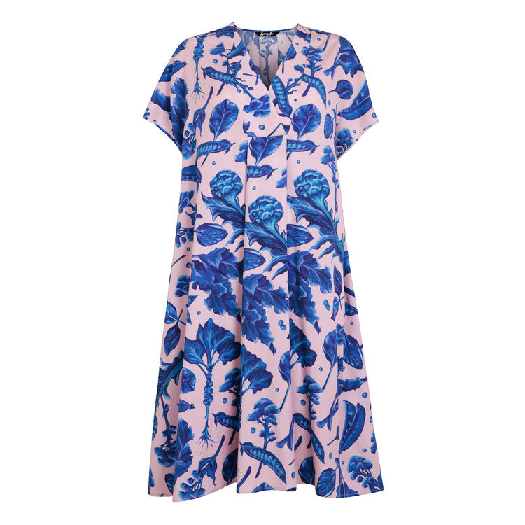 100% Tencel Pink and Blue Dress Protein Print by Gung Hi London