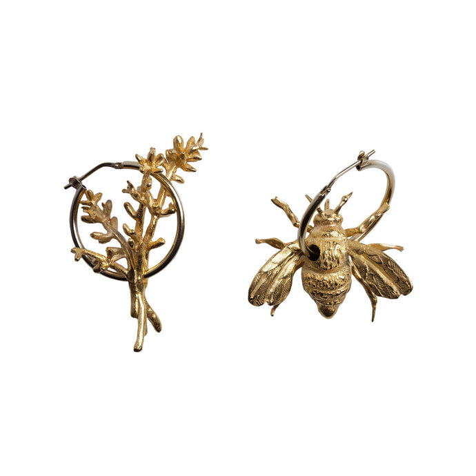 Recyled Gold, Silver, Rose Gold, Bee Hoop Earrings by Gung Ho avalible at Natura x Lab, Reve en Vert, Wolf and Badger