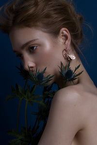 Women wearing Tiger Moth Earrings Recylced Gold, Silver, Rose Gold, by Gung Ho Designs avalible at Natural x Lab