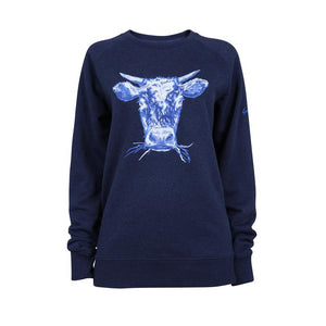 Orgnaic Cotton Cow Jumper Blue, Navy by Gung Ho avalible at Natural x Lab, Sustainble Luxury
