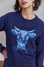 Load image into Gallery viewer, Women wearing Orgnaic Cotton Cow Jumper Blue, Navy by Gung Ho avalible at Natural x Lab, Sustainble Luxury