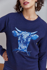 Women wearing Orgnaic Cotton Cow Jumper Blue, Navy by Gung Ho avalible at Natural x Lab, Sustainble Luxury