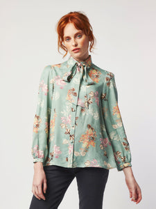Dylan Floral Shirt with Pussy Bow by Dagny at Natural x Lab