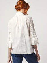 Load image into Gallery viewer, Organic Cotton Pinstripe Shirt mandarin collar abd keyhole neckline