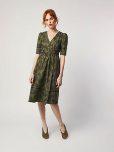 Wrap Dress with Brass Buttons by Dagny