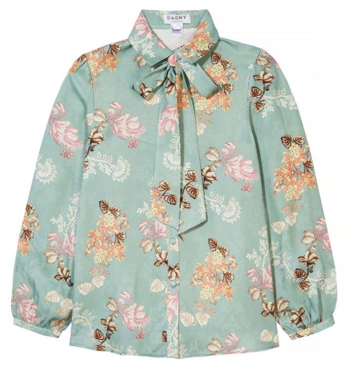 Dylan Green Floral Shirt with Pussy Bow by Dagny at Natural x Lab