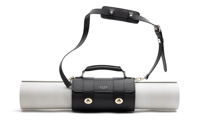 Black Vegan Leather Yoga Bag by Saia London Harrors Natural x Lab