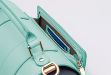 Load image into Gallery viewer, Teal Vegan Leather Yoga Bag by Saia London