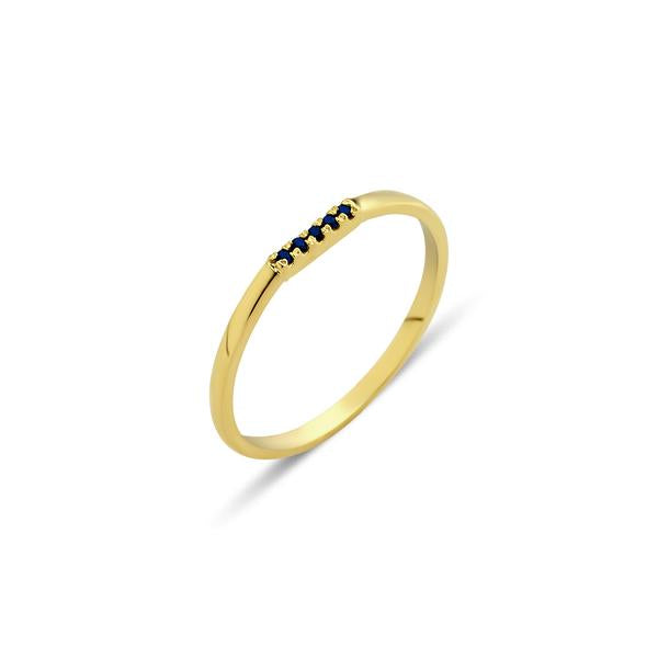 Eline Row - Gold and Blue Sapphire Ring by GFG Jewellery by Nilufer at Natural x Lab, Sustainable Luxury