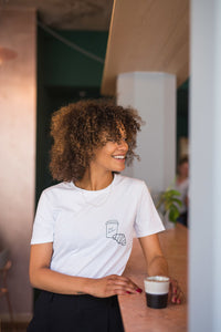 100% Organic Cotton Cafe & Croissant White T-shirt by French Kiss Studio at Natural x Lab