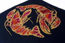 Load image into Gallery viewer, Navy and Red Velvet Lobster Cushion with silk piping by Gung Ho at Natural x Lab
