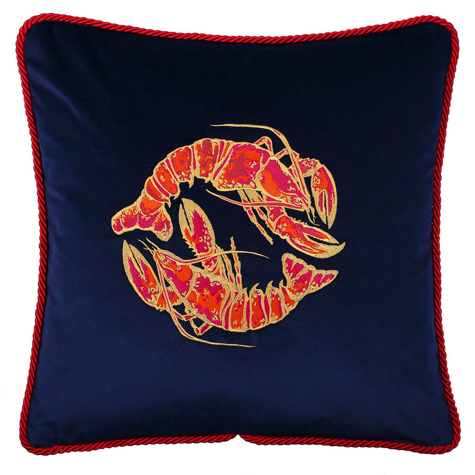 Navy and Red Velvet Lobster Cushion with silk piping by Gung Ho at Natural x Lab