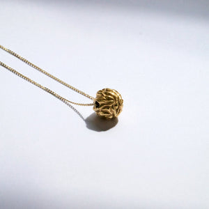 Recyled Gold Necklace with gold ball. The Prophecies of Pythia Pendant, Greek Mythology by Haute & Heir at Natural x Lab.