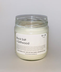Rocksalt and Driftwood Vegan Soy Candle uk in Clear recylced glass jam jar