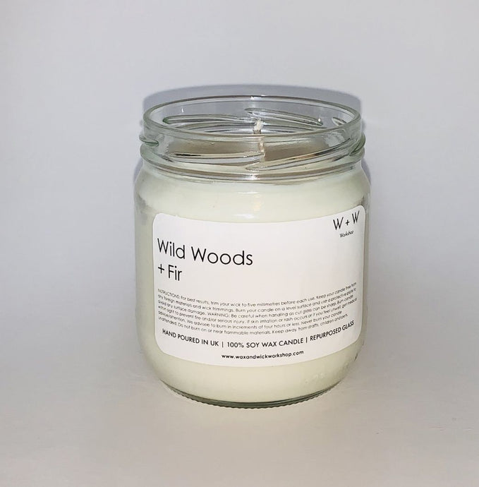 Wild Woods and Fir Vegan Soy Candle uk in Clear recylced glass jam jar