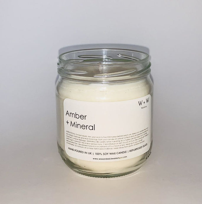 Amber and Mineral Soy Candle in recelyed Glass Jam Jar