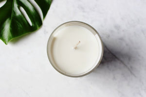 Neroli and Basil Vegan Soy Candle uk in Clear recylced glass jam jar