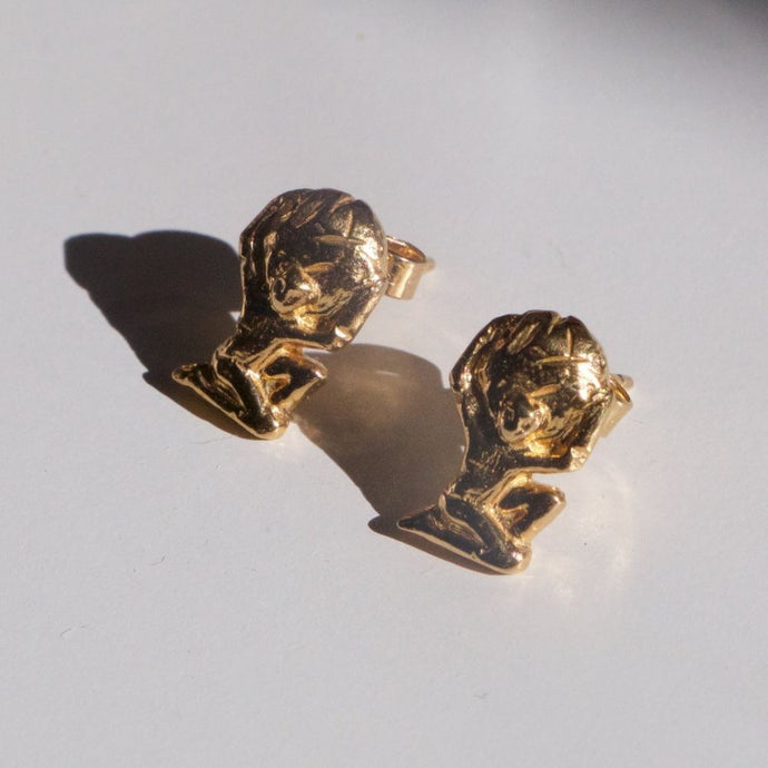 Recycled Gold Gaia & Atlas Studs Recylced Gold Earrings by Haute & Heir avalible at Natural x Lab