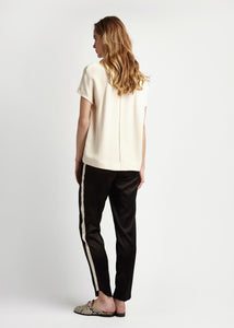 Womens Black and Cream Silk Tailored Trousers Natural x Lab Reve en Vert Green People, Mamie