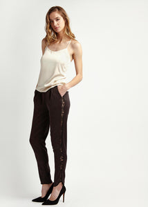 Womens black and lace silk tailored trousers Natural x Lab, Reve en Vert Net-a-porter Browns Matches