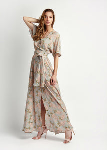 Handmade Liberty of London Print Dress, maxi silk Net-a-porter reve en vert, matches, Mamiee