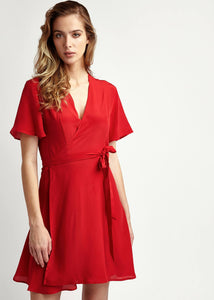 Women wearing Lolita Scarlett 100% Silk Mini Wrap Red Dress with short sleeves, by Maimie avalible at Natural x Lab