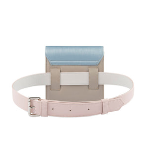 Blue, pink and grey Vegan belt bag by Mashu