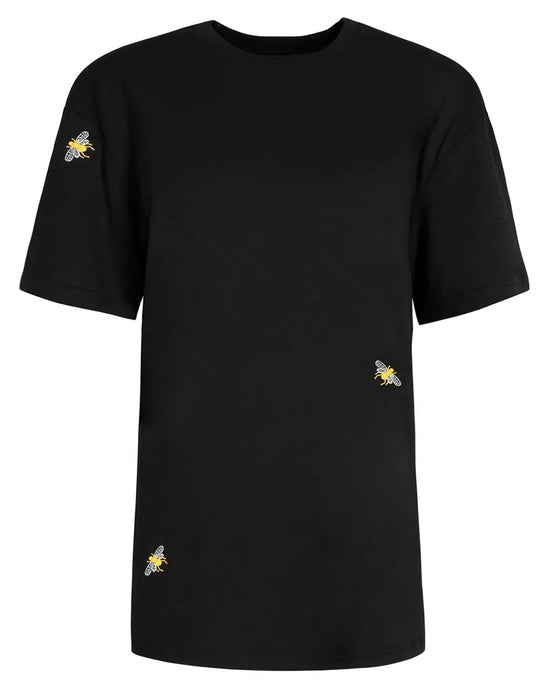Embroidered Bee T-shirt in Black for Men