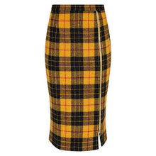 Load image into Gallery viewer, Midi Yellow Tartan Wool Skirt with Leg Zip by Alexandra Long by Natural x Lab
