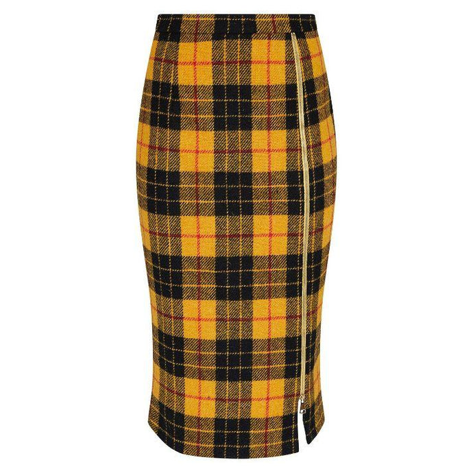 Midi Yellow Tartan Wool Skirt with Leg Zip by Alexandra Long by Natural x Lab