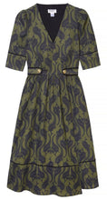 Load image into Gallery viewer, Olive Green Wrap Dress with Brass Buttons by Dagny