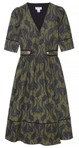 Olive Green Wrap Dress with Brass Buttons by Dagny