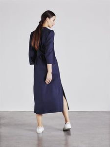 Raminta Shirt Dress in Navy back