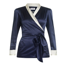 Load image into Gallery viewer, Navy and White Silk Jacket Natural x Lab, Matches Fashion, Liberty of London, Reve en Vert